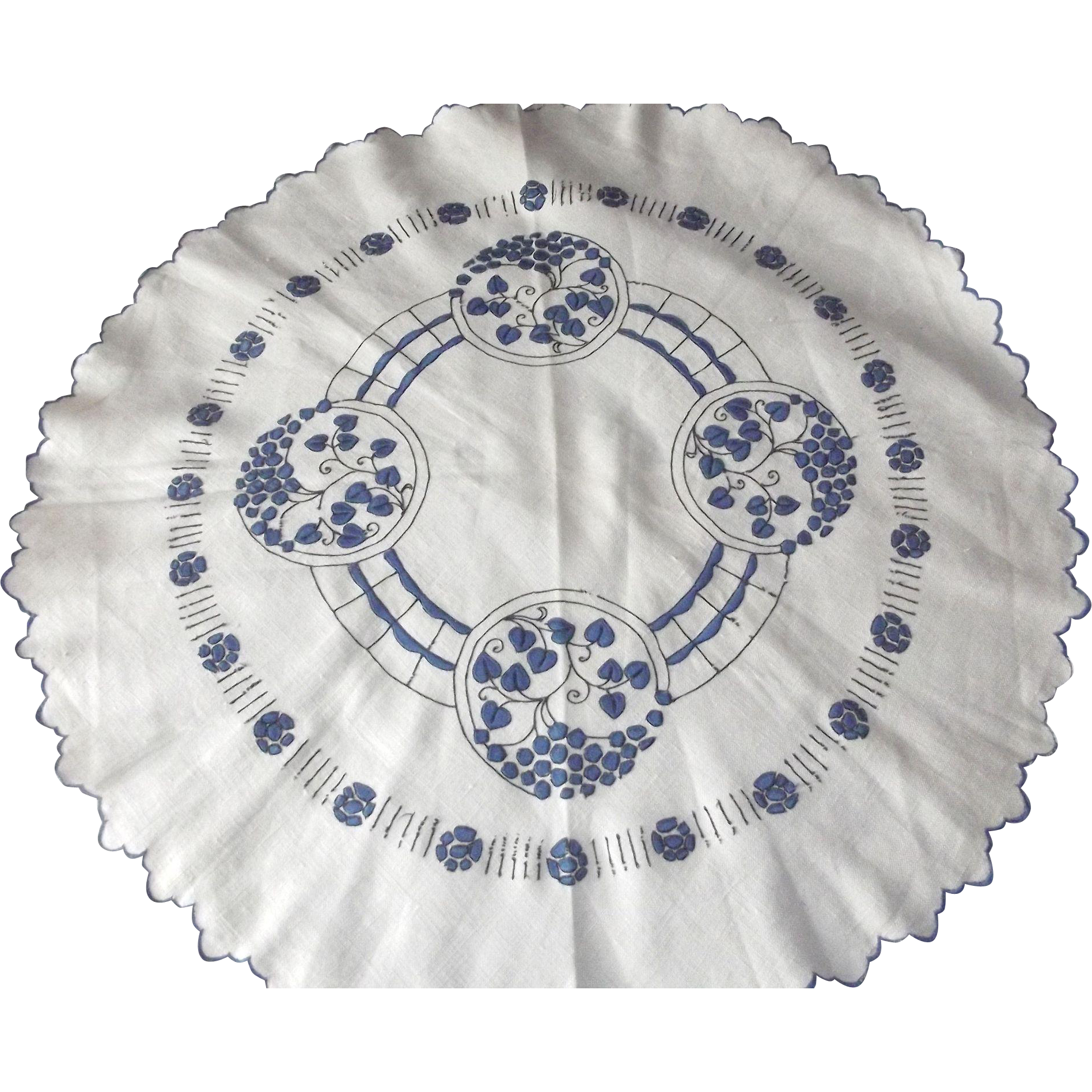 Blue and White Small Tablecloth and Couch or Chair Head Backing