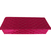 Bright Fuschia Colored Glove Box With Quilted Top, Two Pairs of Gloves, One Scarf and Hankies