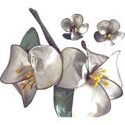 Gardenia Pin and Earring Set From the 40's or 50's