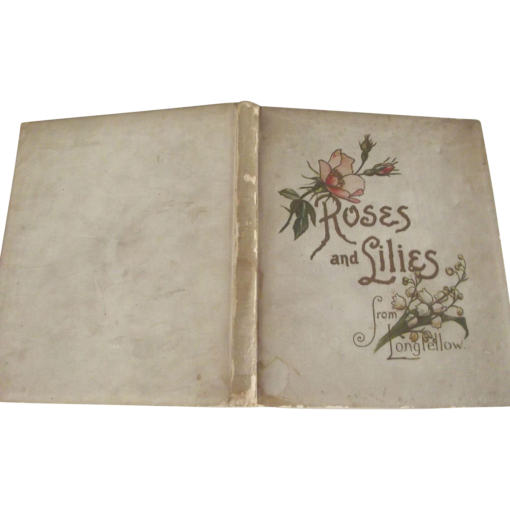 Victorian Book Roses and Lilies from Longfellow