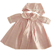 Pink Doll Coat and Bonnet