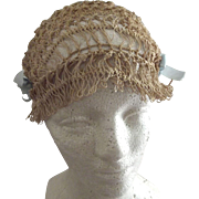 Flapper Open Work Hand Tied Macrame Type Bonnet