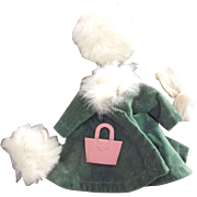 Ginny Outfit With Medford TAg, Coat With Fur Trim, Fur hat and Muff,Stockings and Purse