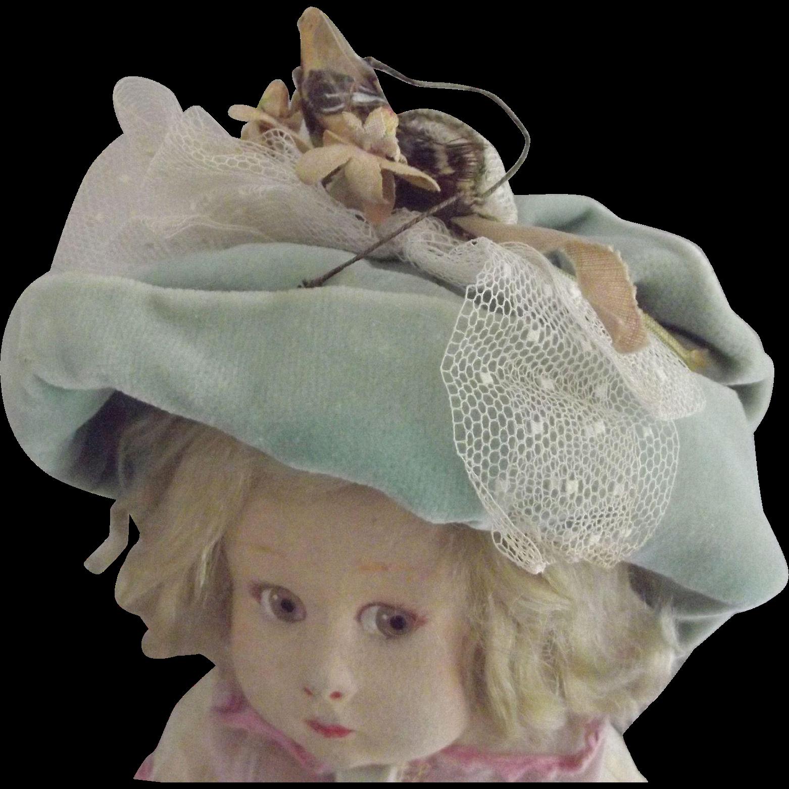 Pale Green Velvet Doll Hat