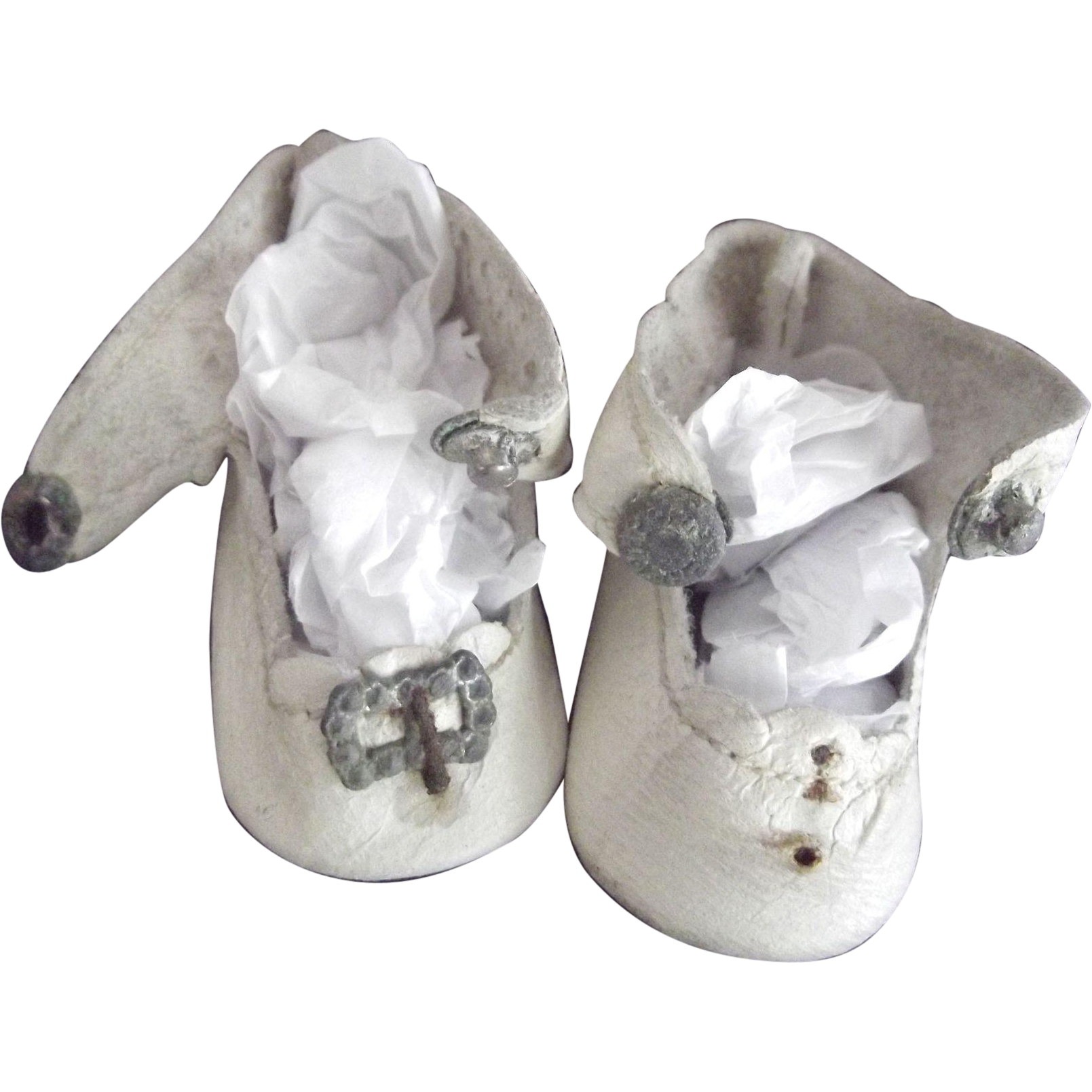 Small White Leather Center Snap Doll Shoes