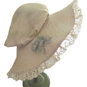 White Doll Mop Cap With Lace and Blue Ribbon