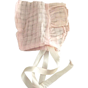 Pink Organdy Doll Bonnet
