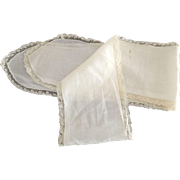 This is an Early White Lawn Sash With Lace
