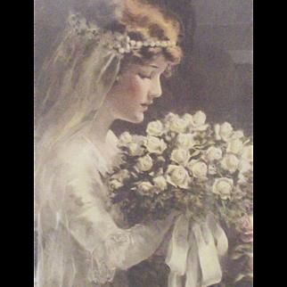 """A Bessie Pease Gutmann Print of a Bride """"Fairest of the Fair"""""""