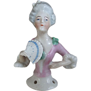 Pincushion Lady With Fan and Fancy Hair, Lacy Sleeves
