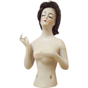 Bisque Wigged  Pincushion Lady With Arms Away