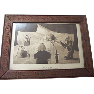 """Print From 1908 With Bear, Child, Dolls Jack In the Box  """"Chorus Of Old Dolls"""""""