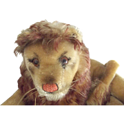 Steiff Lion With Button, Has Repair