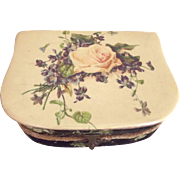 Victorian/Edwardian Celluloid Box With Rose and Violets