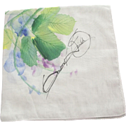 Signed Watercolor Handkerchief