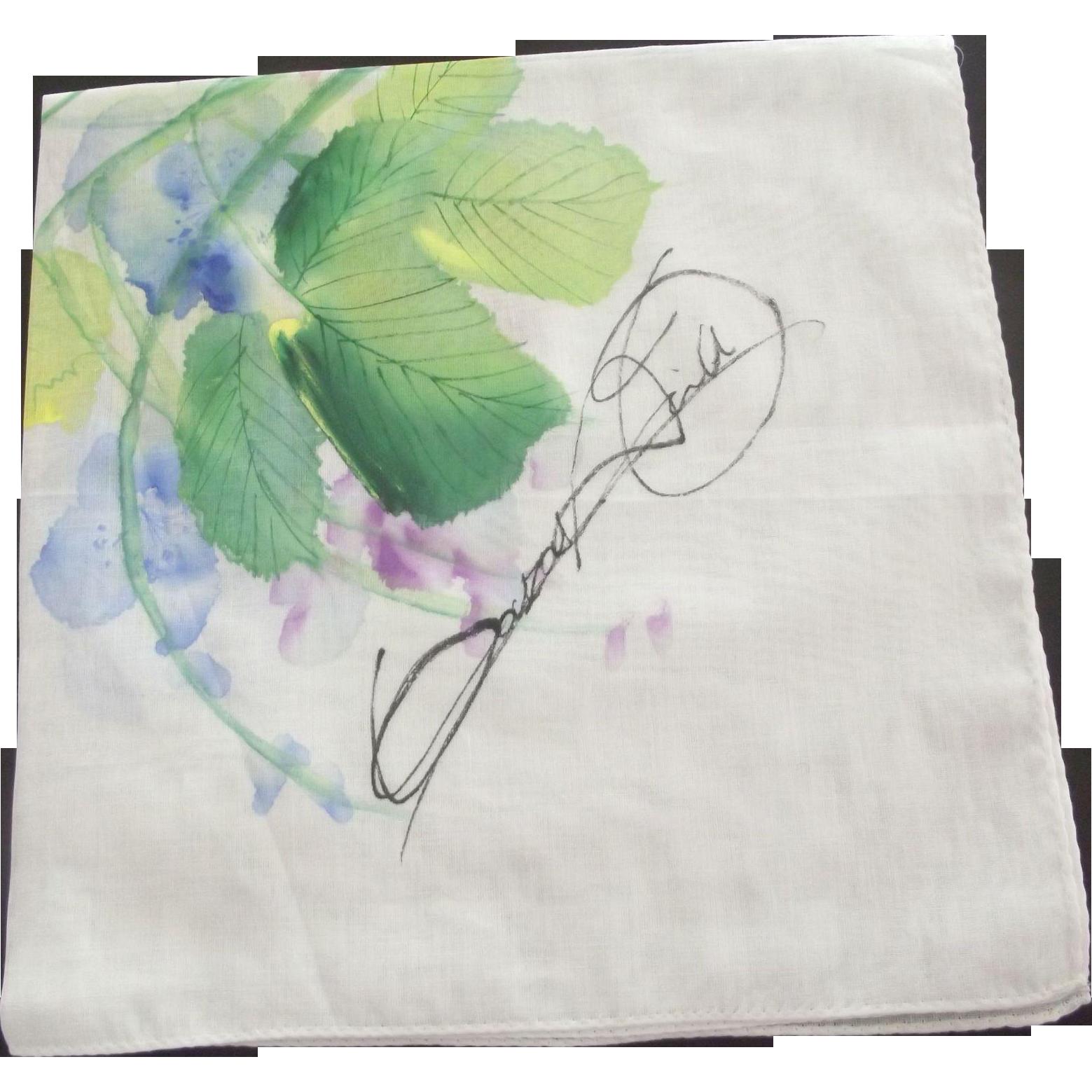 Signed Watercolor Handkerchief