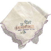 Happy Birthday Handkerchief With Musical Notes and Flowers, Scalloped Edges