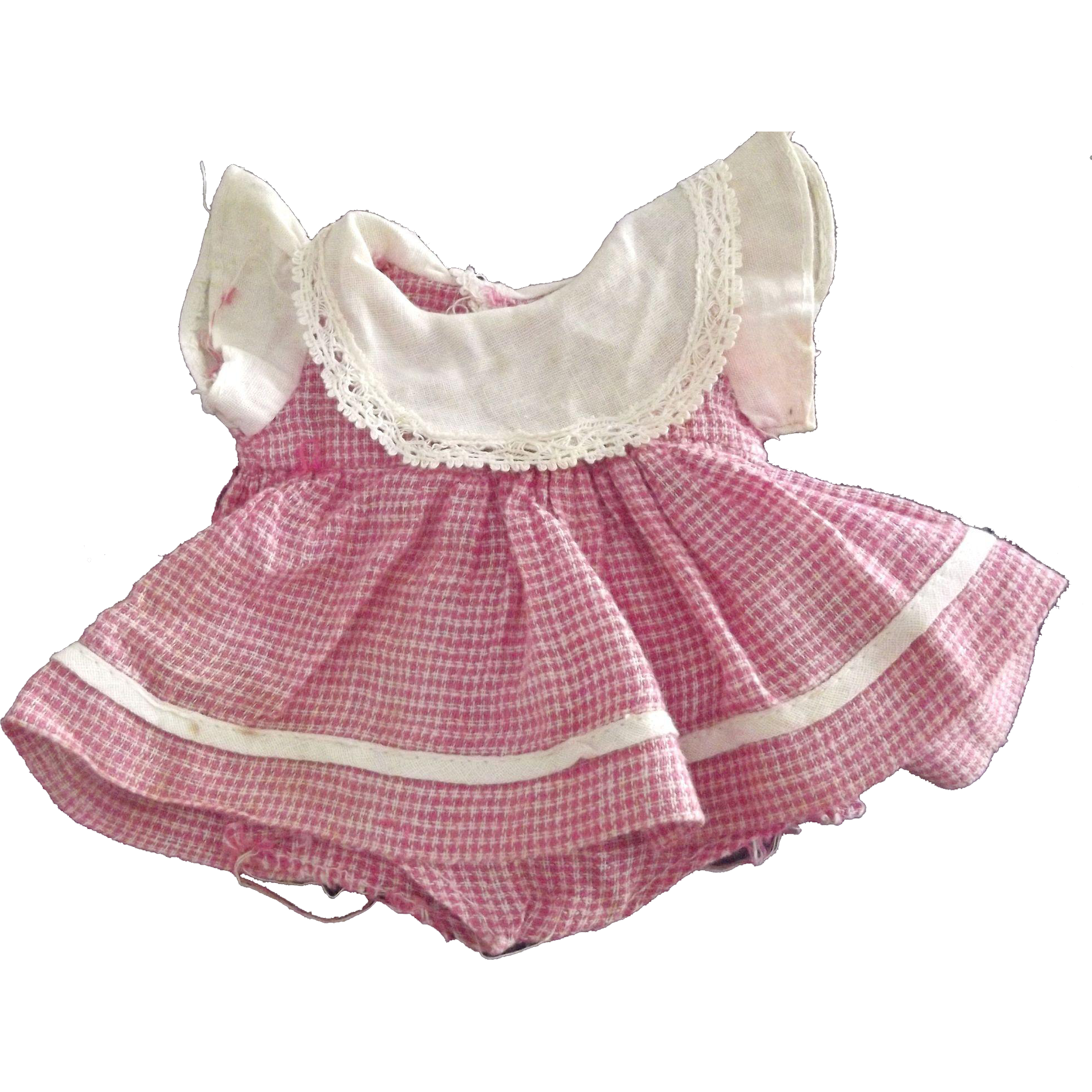 Checked Dress With White Collar For 50's Doll