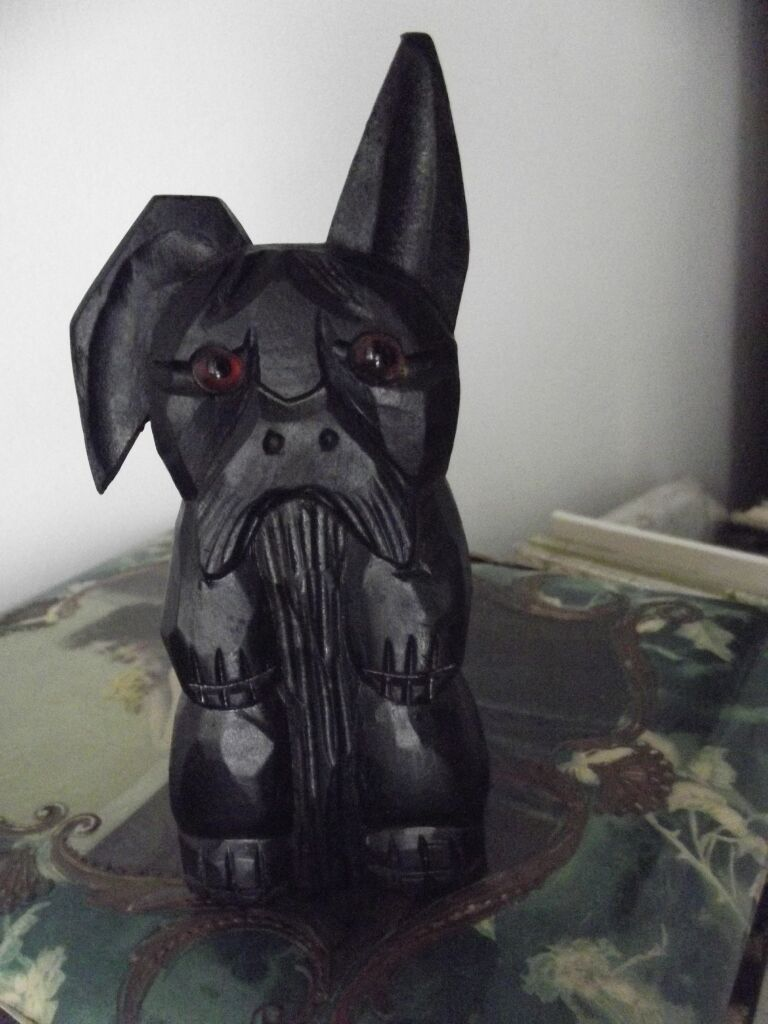 Adorable Glass Eye Wood Carved Scotty Dog For Matches