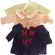 Three Sweaters For Small Doll or Bear
