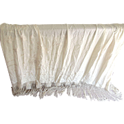 A Silk  Long Fringed Shawl In A Creamy Off White Color