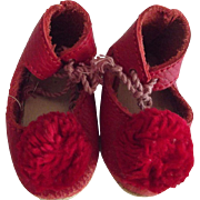 Red Leather Doll Shoes With Large Pom Poms