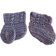 Blue Silk Baby or Doll Booties
