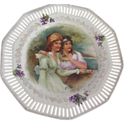 Porcelain Plare With Pierced Edge, Violets and Two Women In Empire Waist Dresses