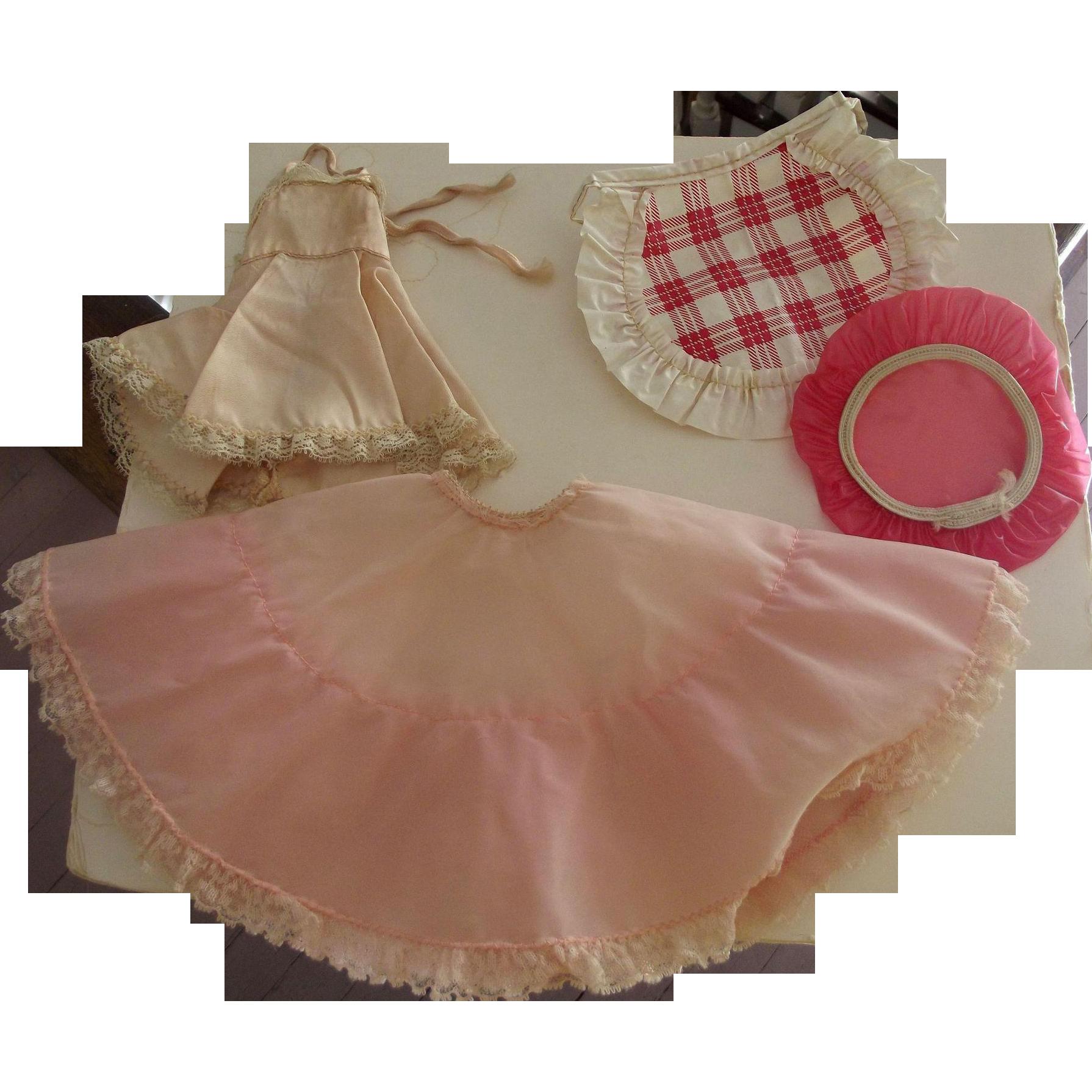 Doll Shower Cap, Plastic Apron, Crinoline and Shirley Temple Slip