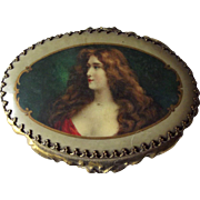 Miniature Box With Auburn Haired Lady