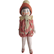 All Bisque Flapper Doll With Original Hat and Jumpsuit