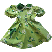 Green Cotton Print 40's or 50's Dress With Bumblebees For Large Doll