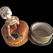French Terre de Retz Powder Box, Madame de Pompadour Type Lady