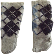 Blue Argyle Doll Stockings