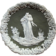 Jasperware Plaque With Kissing Man and Woman