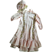 Pink Doll Dress With Bonnet  and Metal Trim For Large Doll