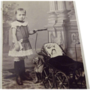 Civil War CDV Child Carriage, Doll and Bull Dog