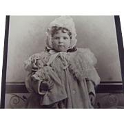 Victorian  CDV With Doll and Child in Fancy Coats and Bonnets