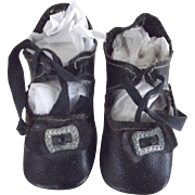 Black Oil Cloth Doll Shoes