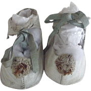 White Leather Doll Shoes With Pom Poms