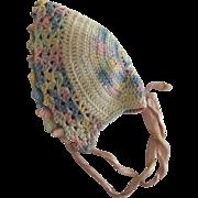 Little Multi Pastel Crocheted Bonnet For Doll