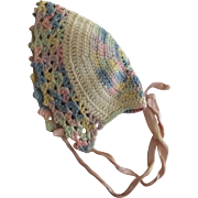 Little Multi Pastel Crocheted Bonnet For Doll