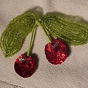 Vintage Cherry Beaded Pin