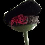 Black Velvet Tam  Hat For Doll