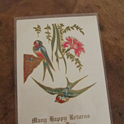 Victorian Post Card With Birds