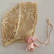 Beautiful Old Crocheted Bonnet