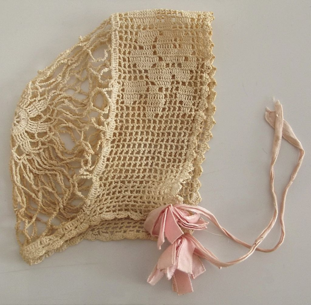 Beautiful Old Crocheted Bonnet