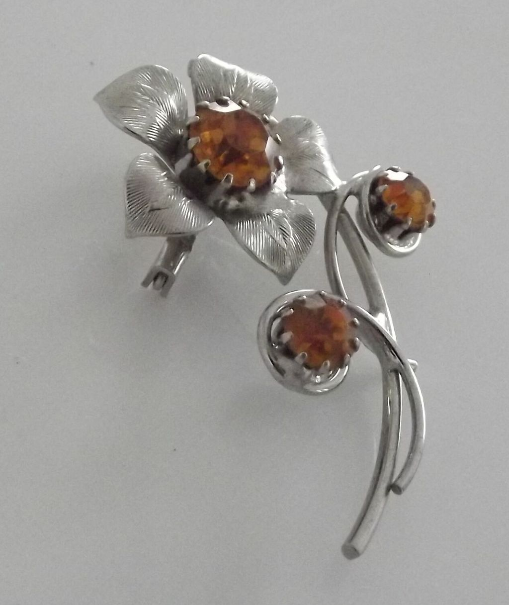 Flower Pin With Yellow Stones