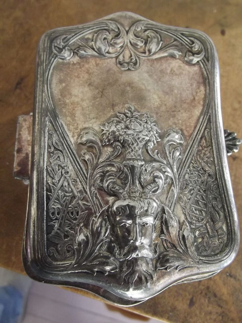 Art Nouveau Silverplate Box With Bacchus