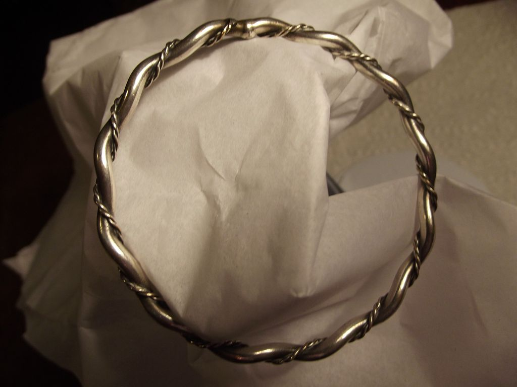 Beautiful Rope and Twisted Silverplate Bracelet